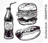 fast food set vintage linear... | Shutterstock .eps vector #288689936