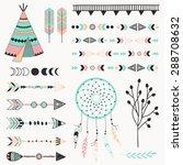 hand drawn vector tribal... | Shutterstock .eps vector #288708632