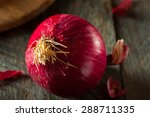 raw organic red onions on a... | Shutterstock . vector #288711335