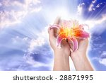 female hand keeping a pink lily over sky with  rays of divine  light - stock photo