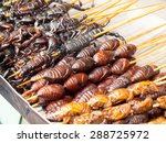 Roasted fried insects and...