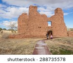 Quarai Mission ruins are located in Salinas Pueblo Missions National Monument near Mountainair, NM.