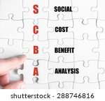 Small photo of Hand of a business man completing the puzzle with the last missing piece.Concept image of Business Acronym SCBA as Social Cost Benefit Analysis