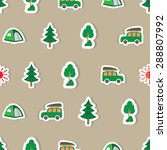 seamless summer camp pattern.... | Shutterstock .eps vector #288807992