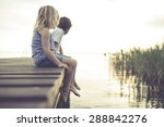 Child Friends Pier Sunset - Fine Art prints