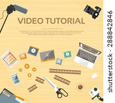 video tutorial editor desk... | Shutterstock .eps vector #288842846
