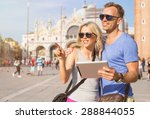 tourists using tablet computer... | Shutterstock . vector #288844055