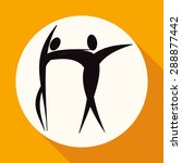 dancer icon on white circle... | Shutterstock . vector #288877442