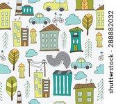 illustration of seamless city   ... | Shutterstock .eps vector #288882032