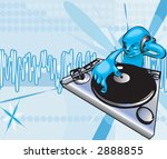 a funky dj mixing . raster... | Shutterstock . vector #2888855