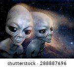 Two Grey Realistic Alien In...