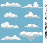 vector set of polygonal clouds | Shutterstock .eps vector #288912272