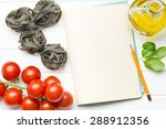 the blank notepaper and ingredients - stock photo