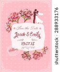 cute peony and couple wedding... | Shutterstock .eps vector #288933176