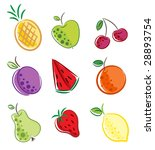 vector set of fruit | Shutterstock .eps vector #28893754
