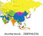 colorful asia political map... | Shutterstock .eps vector #288946256
