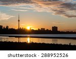 Toronto Skyline At Sunset With...