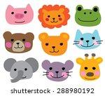 cute animal heads or zoo animal ...   Shutterstock .eps vector #288980192