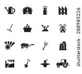 vector black farming icons set... | Shutterstock .eps vector #288985226