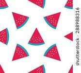 watermelon slice seamless... | Shutterstock .eps vector #288988316