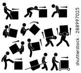Man Moving Box Actions Posture...