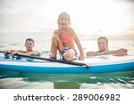 happy family with paddle board... | Shutterstock . vector #289006982