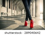 woman in black leather pants... | Shutterstock . vector #289040642