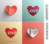 set valentines day card with... | Shutterstock .eps vector #289059572