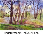 spring landscape with trees by... | Shutterstock . vector #289071128