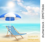 beach with sun beach umbrella... | Shutterstock .eps vector #289073666
