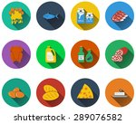 set of food icons in flat... | Shutterstock .eps vector #289076582