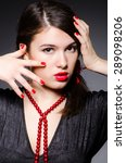 woman portrait against dark... | Shutterstock . vector #289098206