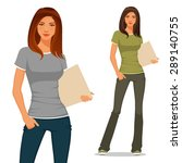 beautiful young student in...   Shutterstock .eps vector #289140755