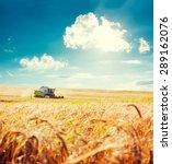 Working Harvesting Combine In...
