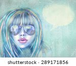 fashionable woman in sunglasses.... | Shutterstock . vector #289171856