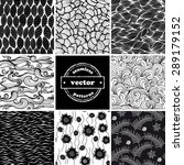 set of eight seamless black and ... | Shutterstock .eps vector #289179152