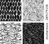 set of four seamless black and...   Shutterstock .eps vector #289179158
