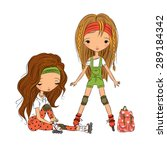 cute girls roller skating. flat ... | Shutterstock .eps vector #289184342