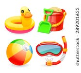 Colorful Beach Toys Icons Set...