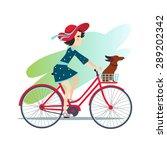 girl is riding bike on spring... | Shutterstock .eps vector #289202342