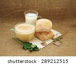 a glass of milk  a cup with... | Shutterstock . vector #289212515
