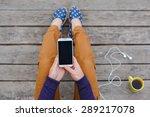 beautiful young woman using... | Shutterstock . vector #289217078