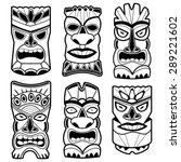 hawaiian tiki god statue masks. ... | Shutterstock .eps vector #289221602