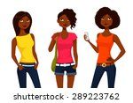 cartoon girls in colorful... | Shutterstock .eps vector #289223762