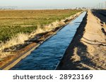 Water Flowing In An Irrigation...