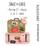 vintage wedding invitation with ... | Shutterstock .eps vector #289237076