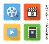 flat video icons with long...