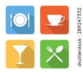 flat dining icons with long...