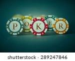 colorful poker chips  eps 10   Shutterstock .eps vector #289247846