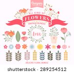 vector set with vintage flowers ... | Shutterstock .eps vector #289254512